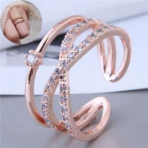 Cubic Zirconia Delicate Style Korean Fashion Women Ring - Rose Gold