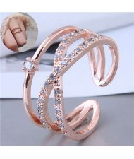 Cubic Zirconia Delicate Style Korean Fashion Women Ring - Rose Gold