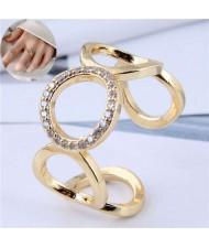 Rounds Combo Korean Fashion Golden Women Open Ring