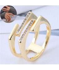 Cubic Zirconia Embellished Dual Layers Sweet Fashion Women Copper Ring