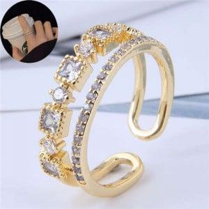 Cubic Zirconia Emebllished Korean Fashion Women Copper Ring