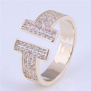 Cubic Zirconia Embellished Super Shining Style High Fashion Women Open Ring - Golden