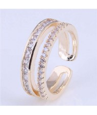 Cubic Zirconia Decorated Dual Layers High Fashion Women Wholesale Ring - Golden