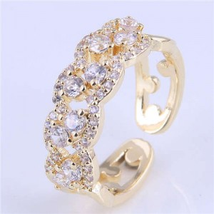 Cubic Zirconia Inlaid Hollow Floral Pattern Korean Fashion Women Ring - Golden