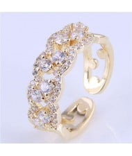 Cubic Zirconia Inlaid Hollow Floral Pattern Korean Fashion Women Ring - Golden