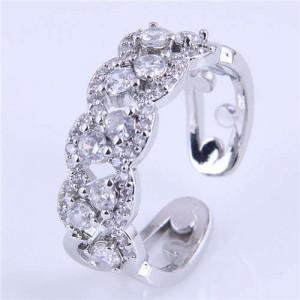 Cubic Zirconia Inlaid Hollow Floral Pattern Korean Fashion Women Ring - Silver
