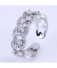 Cubic Zirconia Inlaid Hollow Floral Pattern Korean Fashion Women Ring - Silver