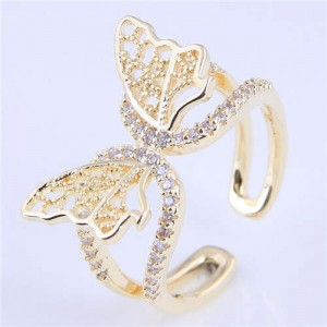 Cubic Zirconia Embellished Gorgeous Butterfly Design Hollow Fashion Women Wholesale Ring - Golden