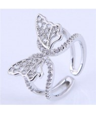 Cubic Zirconia Embellished Gorgeous Butterfly Design Hollow Fashion Women Wholesale Ring - Silver