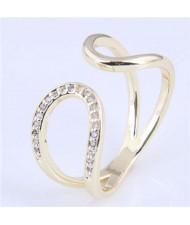 Cubic Zirconia Inlaid Waterdrop Inspired Korean Fashion Women Ring - Golden