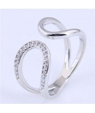 Cubic Zirconia Inlaid Waterdrop Inspired Korean Fashion Women Ring - Silver