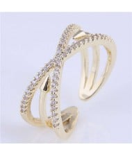 Rivet Inlaid Dual Layers Korean Fashion Women Wholesale Ring - Golden