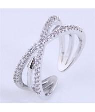 Rivet Inlaid Dual Layers Korean Fashion Women Wholesale Ring - Silver