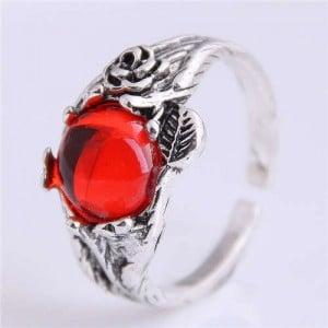 Red Gem Inlaid Vintage Fashion Wholesale Costume Ring