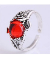 Red Gem Inlaid Vintage Fashion Wholesale Costume Ring