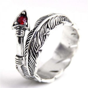 Arrow and Feather Vintage Fashion Women Open Alloy Ring