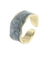 Oil-spot Glazed Wide Fashion Women Open Ring - Gray