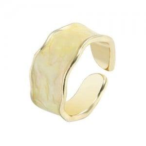 Oil-spot Glazed Wide Fashion Women Open Ring - Beige