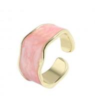 Oil-spot Glazed Wide Fashion Women Open Ring - Pink