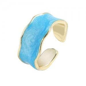 Oil-spot Glazed Wide Fashion Women Open Ring - Blue