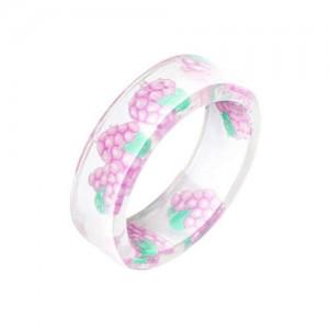 Fruits Fashion Acrylic Women Wholesale Ring - Grape