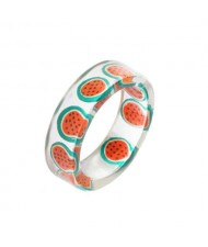Fruits Fashion Acrylic Women Wholesale Ring - Watermelon