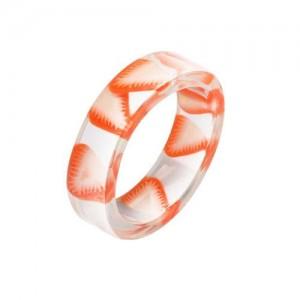 Fruits Fashion Acrylic Women Wholesale Ring - Strawberry Slice