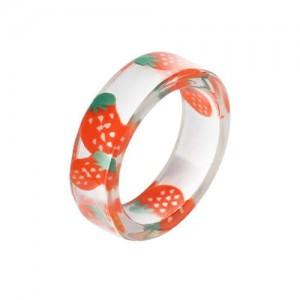 Fruits Fashion Acrylic Women Wholesale Ring - Strawberry