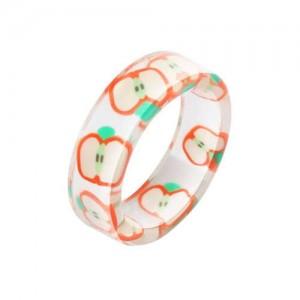 Fruits Fashion Acrylic Women Wholesale Ring - Apple