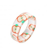Fruits Fashion Acrylic Women Wholesale Ring - Apple