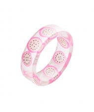 Fruits Fashion Acrylic Women Wholesale Ring - Dragon Fruit