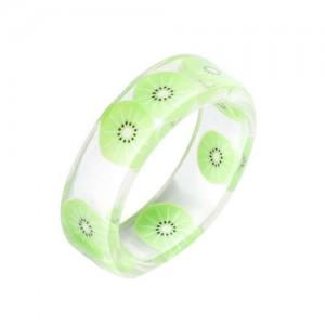 Fruits Fashion Acrylic Women Wholesale Ring - Kiwi