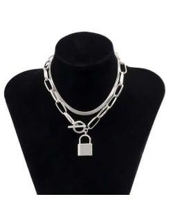 Elegant Lock Pendant Dual Layers Chain U.S. High Fashion Wholesale Costume Necklace - Silver