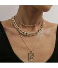 Delicate Dragon Pendant Triple Layers Hip-hop Fashion Costume Wholesale Necklace