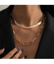 Dual Layers Snake Chain High Fashion Women Wholesale Choker Necklace - Golden
