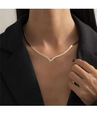 Hip-hop Trend V Shape Design Snake Bone Chain U.S. Fashion Women Wholesale Necklace - Golden