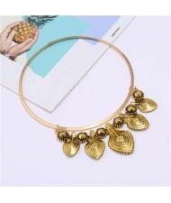 Folk Style Alloy Leaves Design Vintage Women Short Wholesale Costume Necklace - Golden