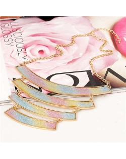 Rainbow Colors Matte Texture Geometric Pendants Combo High Fashion Women Bib Statement Necklace