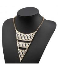 Fluorescent Decorations Bold Triangle Pendant High Fashion Women Costume Bib Necklace - Purple