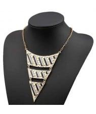 Fluorescent Decorations Bold Triangle Pendant High Fashion Women Costume Bib Necklace - Black