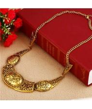 Vintage Carved Flowers Pattern Golden Women Wholesale Bib Necklace