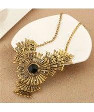 Gem and Rhinestone Embellished Vintage Flowers Pendant Women Bold Statement Necklace