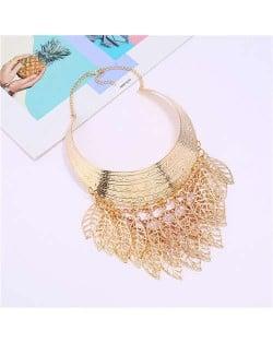 Hollow Leaves Tassel Arch Shape Design Women Wholesale Bib Statement Necklace - Golden
