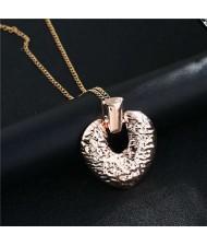Coarse Texture Vintage Fashion Peach Heart Alloy Women Wholesale Costume Necklace - Rose Gold