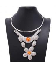 Gem Decorated Multi-layer Floral Design Wholesale Women Bib Costume Necklace - Silver