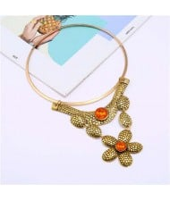 Gem Decorated Multi-layer Floral Design Wholesale Women Bib Costume Necklace - Golden