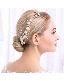 Pearl and Ceramic Flowers Jeweled Bridal Hair Comb/ Barrette