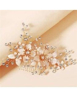 Shining Rhinestone Embellished Elegant Flowers Women Wedding Hair Comb/ Accessories