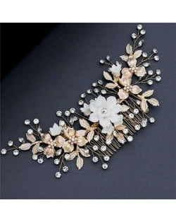 Golden and White Flowers Romantic Fashion Women Bridal Hair Accessories/ Comb
