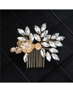 Vintage Fashion Floral and Leaves Wedding Bridal Hair Comb/ Accessory